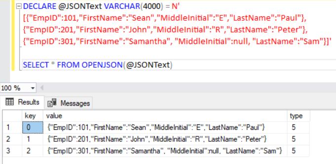 Import JSON using OPENJSON default schema