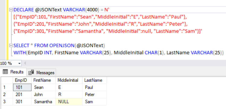 Import JSON using OPENJSON with explicit schema definition