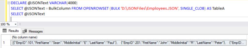 Import JSON using OPENROWSET
